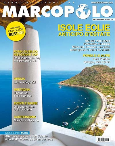 "Cover of the May June 2016 ""marco polo travel diaries"" italian edition  issue."