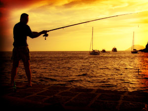 Fishing in Filicudi at sunset