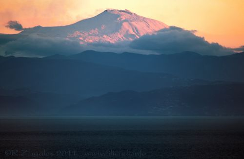 Etna volcano photographed from Filicudi Island.