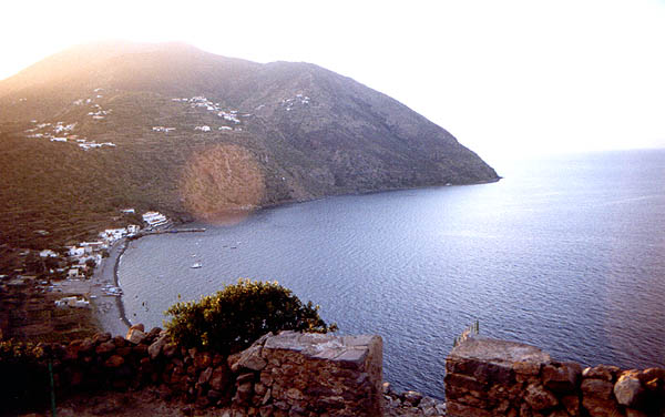 filicudi port seen from neolithic village