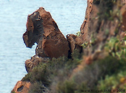 A famous horse-shaped rock on the south coast of the island of Filicudi